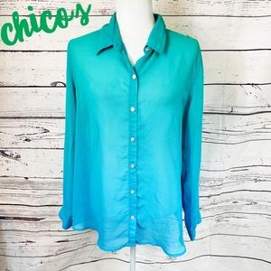 CHICO'S Green Blue Ombre Button Down Sheer Shirt